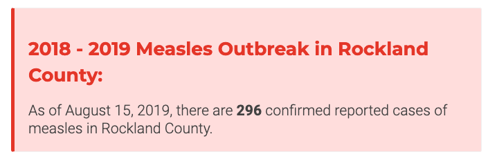 The Rockland measles outbreak will end on September 26, when 42 days have passed since the last new measles case.