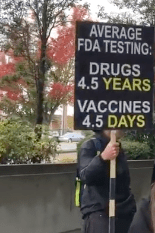 This sign is missing information on years of development and testing that occur before a vaccine is approved.