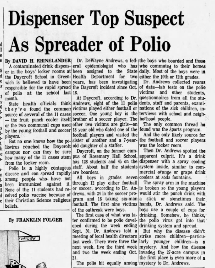11 kids got paralytic polio at a Christian Science school in 1972.