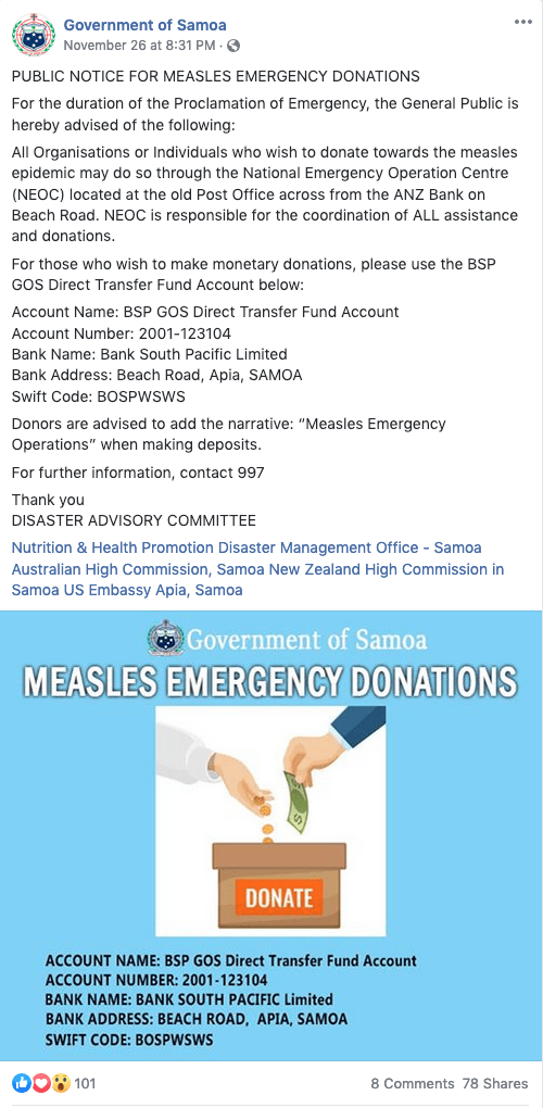 Send an international wire transfer from your bank to the BSP GOS Direct Transfer Fund Account to help their Measles Emergency Operations.