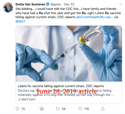 She was tweeting an old story about last year's flu vaccine and the 9% number was just about one strain in the vaccine. The adjusted overall vaccine effectiveness for the 2018-19 flu vaccine was actually 47%.