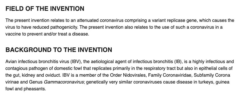 A patent for a poultry vaccine is not evidence for a conspiracy theory about the 2019 novel coronavirus.