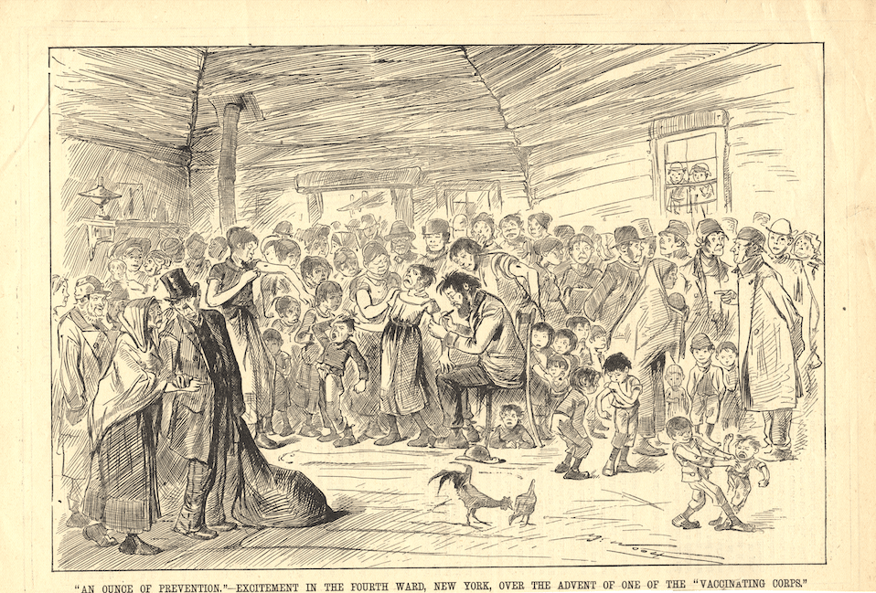 This wood engraving from 1881 shows a crying child getting vaccinated in a room full of people waiting their turn.