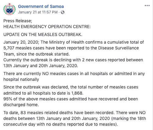 At least 83 people died in the measles epidemic in Samoa.
