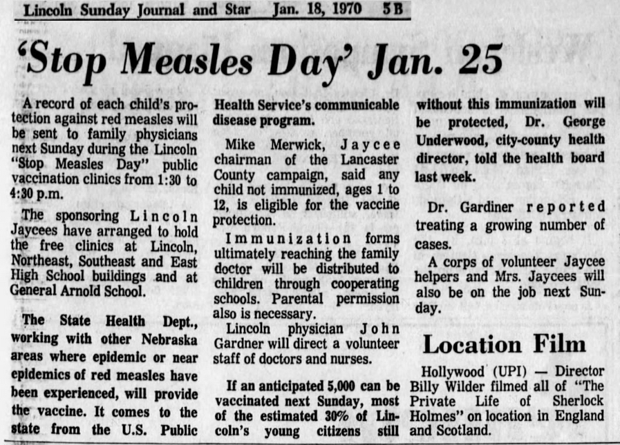 """This paper in Nebraska announced """"Stop Measles Day"""" on January 18, 1970."""
