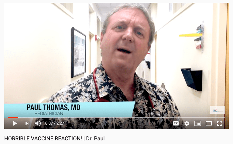 Many folks would describe what is going on in this video by Paul Thomas as horrible, everything except the common vaccine reaction.