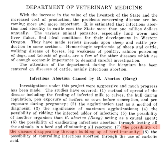 An article about natural herd immunity was published in 1921.
