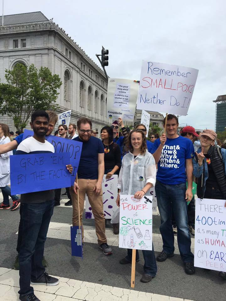 Advocates at the March for Science reminded folks about the importance of vaccines.
