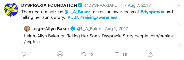 Leigh-Allen Baker is no longer associated with the Dyspraxia Foundation.