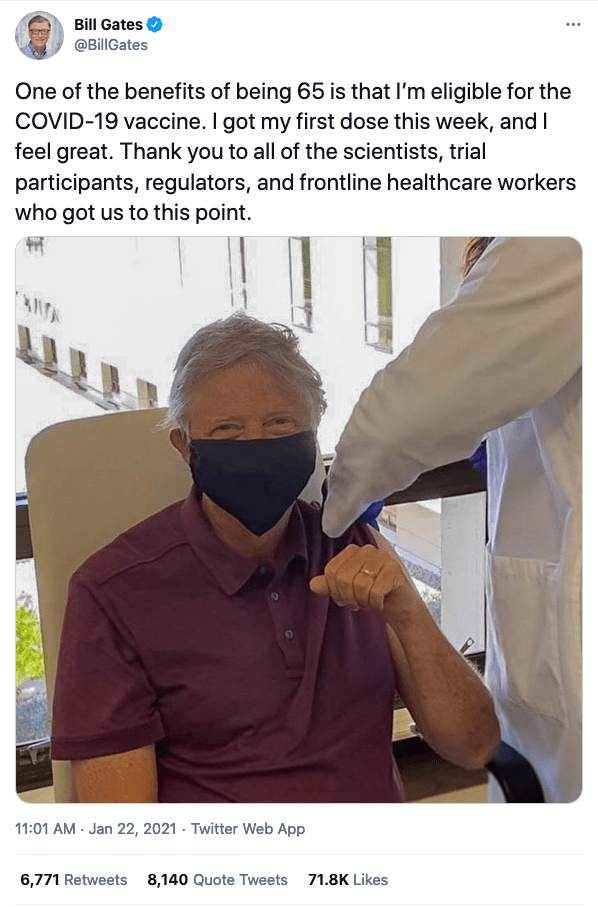 Maybe Bill Gates could comb his hair, wear his glasses, and a better fitting mask (so his ear doesn't bend) for shot number two so folks won't be confused about whether or not it is really him...