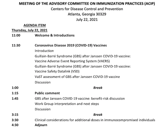 We will get much more information about COVID vaccines and GBS once the Advisory Committee on Immunization Practices (ACIP) meets to review the VAERS data, plus data from the Vaccine Safety Datalink system and VaST.