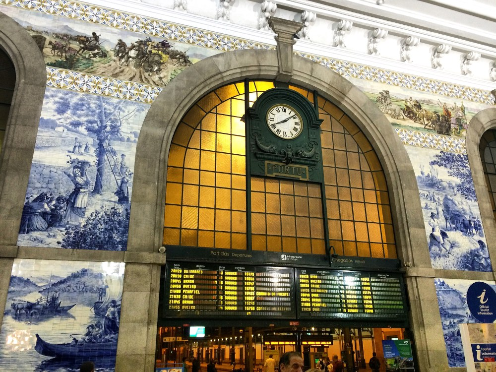 Travel Tiled Train Station in Porto, Portugal
