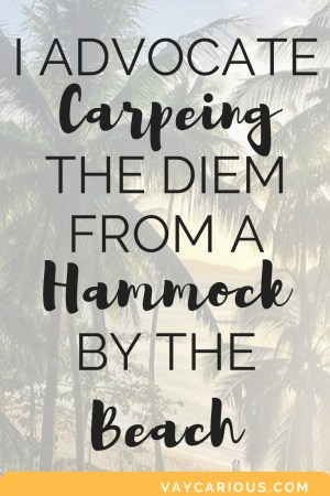 Inspirational quote: carpeing the diem from a hammock by the beach. https://vaycarious.com/starthere/