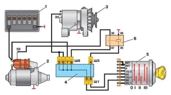 Схема подключения замка зажигания ваз