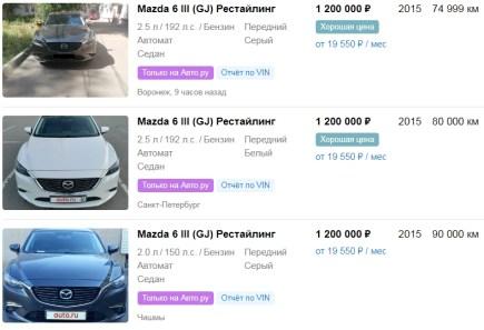 Цены на Mazda 6 III (GJ) Рестайлинг