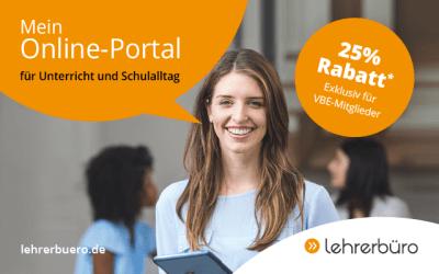 Lehrerbüro.de – Mein Online-Portal für Unterricht und Schulalltag: 25% Rabatt für VBE-Mitglieder