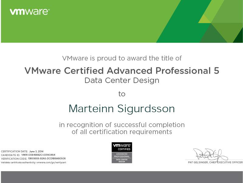 Certifications Vmarteinn