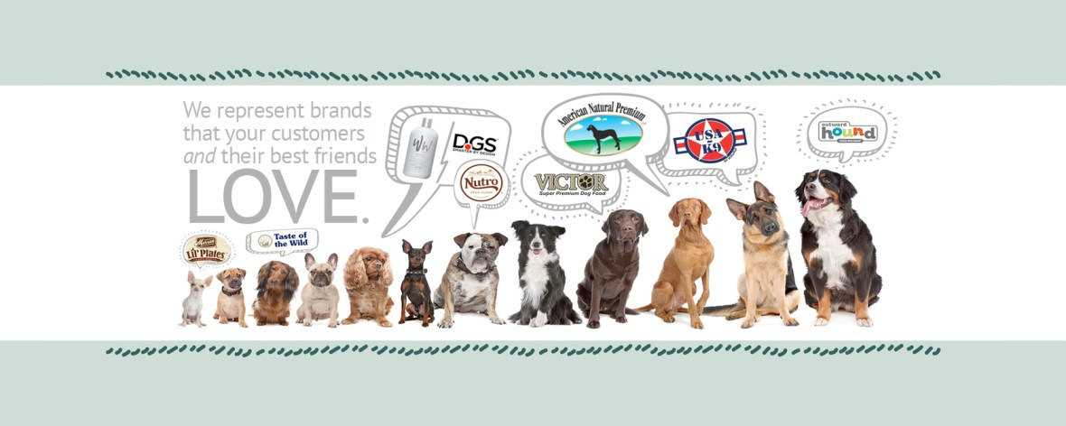 Image of dogs and logos of brands that we carry.