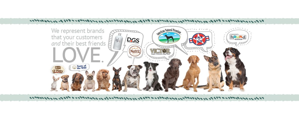 Image of dogs and logos of brands that VDB sells.