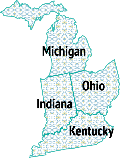 Map of Michigan, Indiana, Ohio and Kentucky.