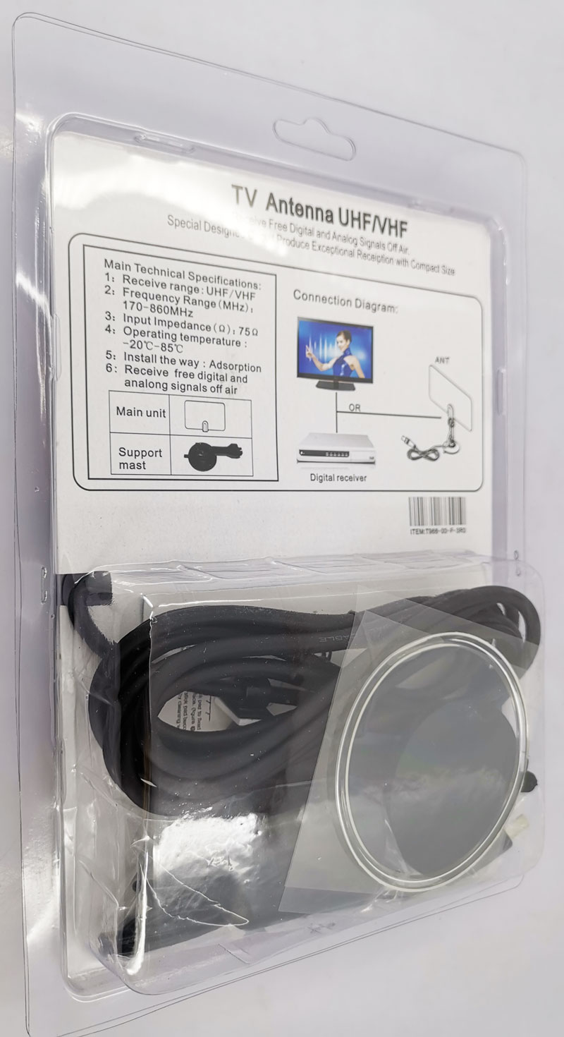 VCAN0992 Digital TV DVB-T2 UHF/VHF Flat antenna and No extra power required for home use 12 -