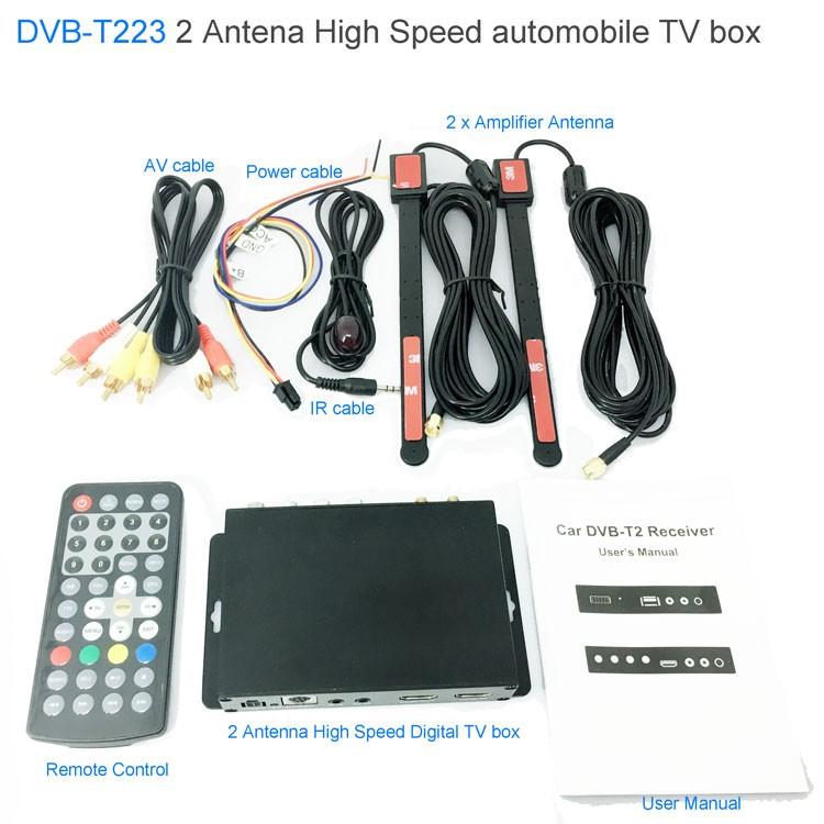 Car DVB-T2 DVB-T Multi PLP Digital TV Receiver 2 Antenna Diversity Dual Aerial H264 MPEG4 HD High Speed FTA STB 7 -