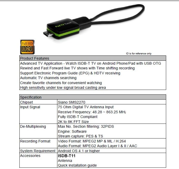 ISDB-T TV Receiver USB dongle stick
