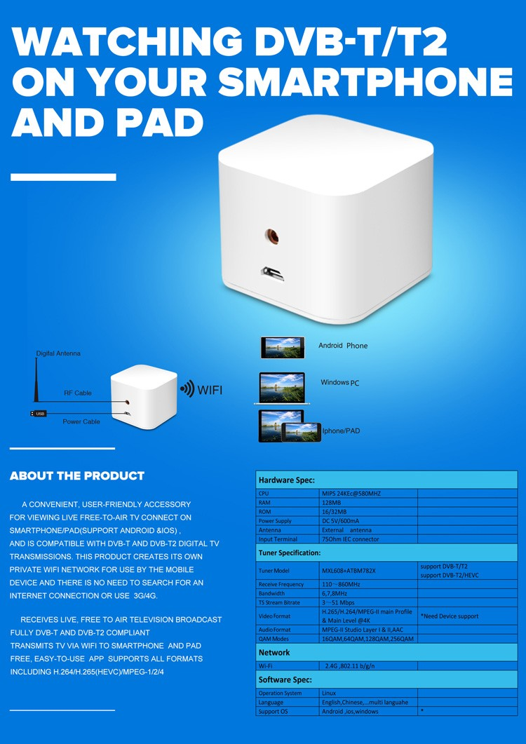 WIFI TV400 digital tv for mobile phone specification