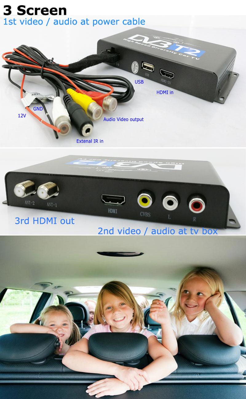 Car DVB-T2 H265 HEVC Codec Digital TV Receiver Auto Mobile Germany Standard 2 antenna H264 HD for all dvb country 15 -
