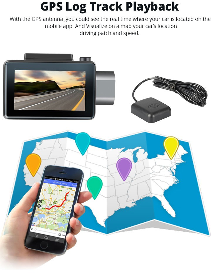 Android DVR dashcam car camera 3.0 inch full 1080 HD GPS logger dual camera video recorder Vcan1608 18 -