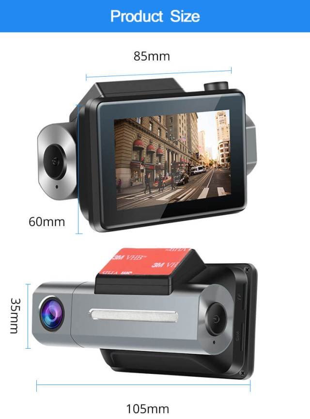 Android Dash Cam Car DVR Camera GPS Logger 3G WiFi Dual Lens WDR Video Recorder 5.1 Rearview camera Vcan1608 2 -