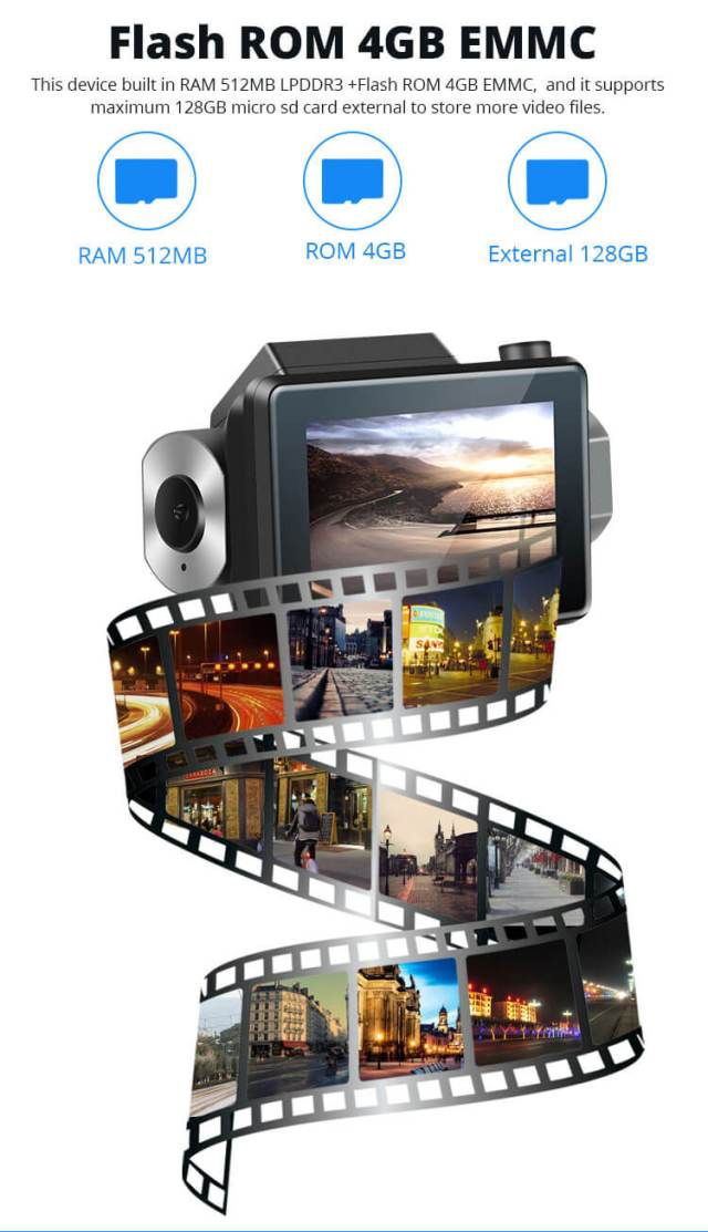 Android Dash Cam Car DVR Camera GPS Logger 3G WiFi Dual Lens WDR Video Recorder 5.1 Rearview camera Vcan1608 10 -