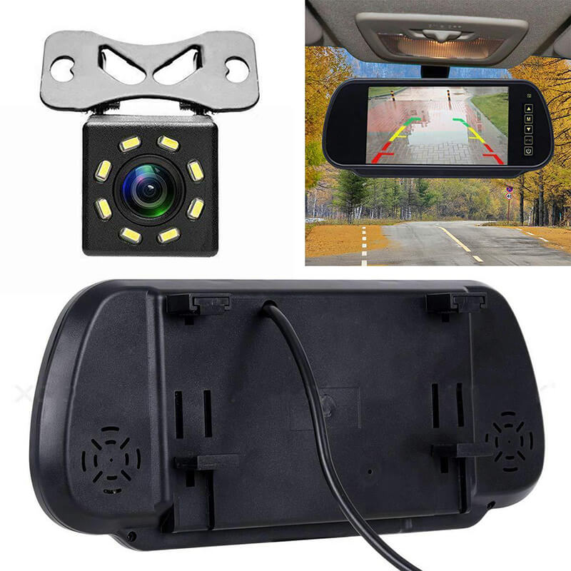 7 Inch Car Mirror Monitor Touch Button Auto Vehicle Parking Rear View Reverse HD Two inputs 3