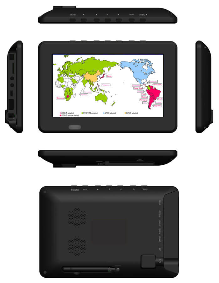 7 inch ISDB-T Digital ISDBT TV HD MPEG4 FULL SEG Analog TV USB TF MP5 player AV input Rechargeable Battery 17
