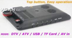 DTV900 DVB-T2 DVB-T ATSC ISDB-T 9 inch Digital TV Analog TV USB TF MP5 player AV in Rechargeable Battery 9