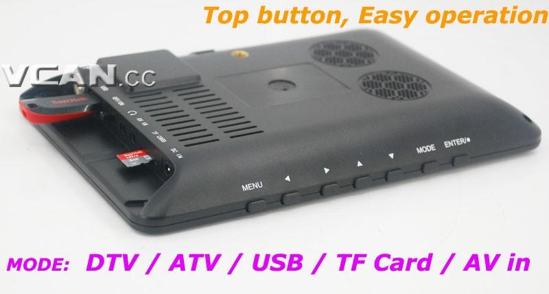 DTV900 DVB-T2 DVB-T ATSC ISDB-T 9 inch Digital TV Analog TV USB TF MP5 player AV in Rechargeable Battery 18