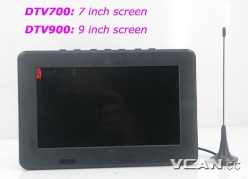 DTV900 DVB-T2 DVB-T ATSC ISDB-T 9 inch Digital TV Analog TV USB TF MP5 player AV in Rechargeable Battery 6