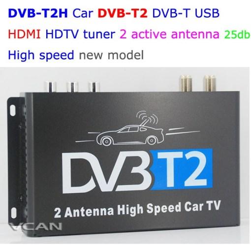 DVB-T2H Car DVB-T2 DVB-T USB HDMI HDTV tuner 2 active antenna high speed 1