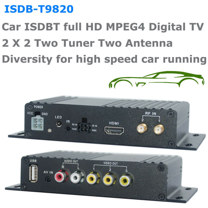 ISDB-T9820 Car ISDB-T Two tuner Two Antenna HD MPEG4 TV receiver for Brazil Peru Chile Costa Rica 1