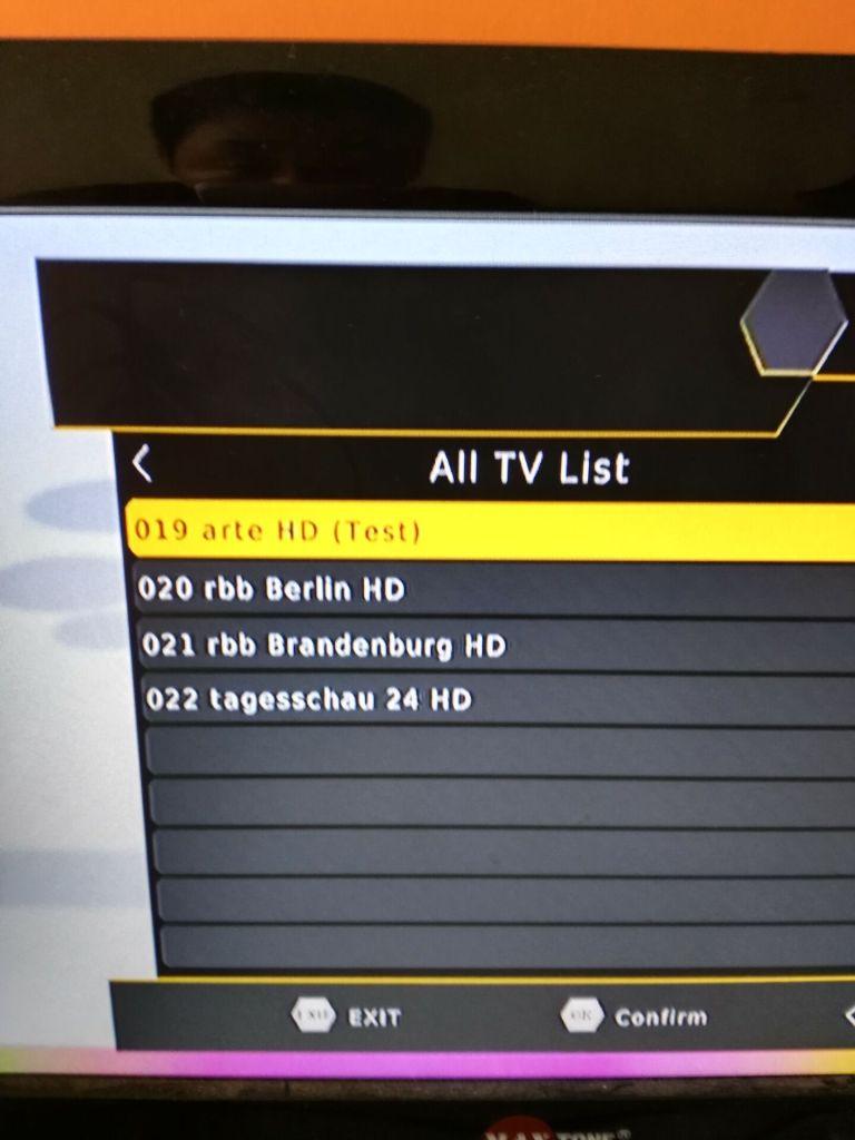 Germany Car DVB-T2 H.265 HEVC Codec Channel list 1