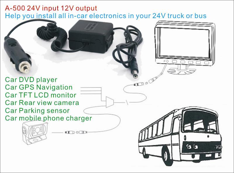 DC24V to 12V Car cigarette lighter power charger adapter A-500 12