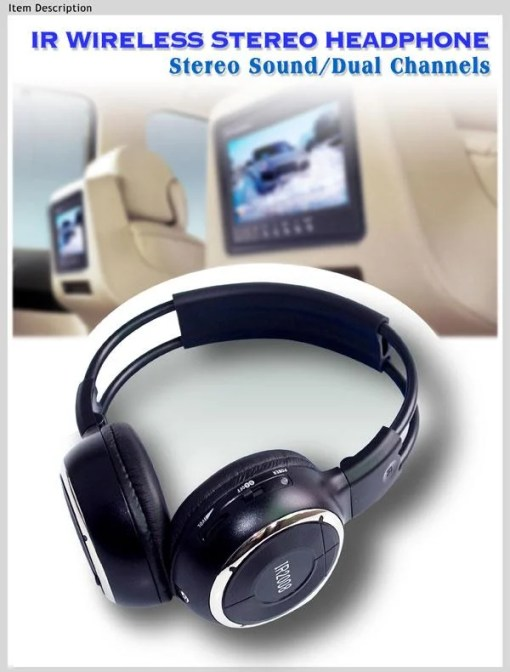 WL-2008 car wireless IR stereo TV headphone infrared headset with TV, VCR, VCD, DVD or audio system 2