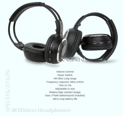 WL-2008 car wireless IR stereo TV headphone infrared headset with TV, VCR, VCD, DVD or audio system 3