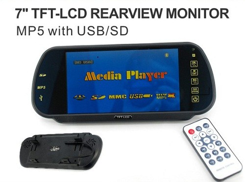 7inch Rearview Mirror Monitor Support MP5 Bluetooth 1