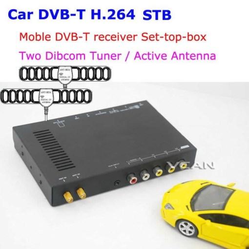 Car DVB-T digital tv receiver 2 antenna tuner TNT TDT 1