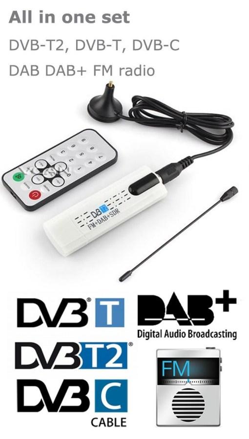 USB DVB-T2 PC DTV receiver DVB-T2 DVB-T DVB-C SDR FM DAB TV stick DVB-T2U, change your PC to DTV 4