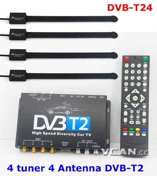 Car DVB-T2 TV Receiver 4 Tuner 4 Antenna USB HDMI HDTV Russia High Speed 6