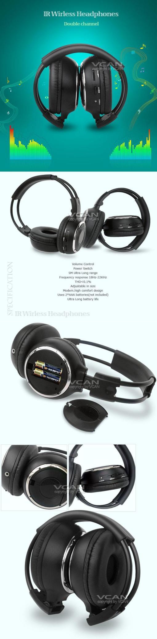 car wireless IR stereo TV headphone 8