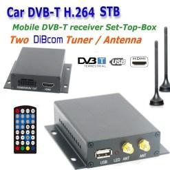 In-car Auto DVB-T DVB-T2 TV receiver box diversity 2 antenna MPEG4 H.264 STB dvb-t7200 8
