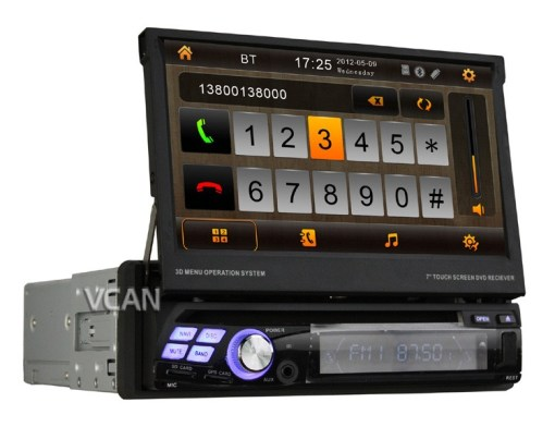 VCAN0777 Car One Din DVD /TV/Radio/USD/SD while navigation GPS Multimedia System with touch screen,bluetooth 1